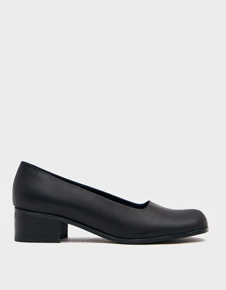 Amomento Women's Classic Pumps in Black Shoes, Size 6 | Leather/Rubber