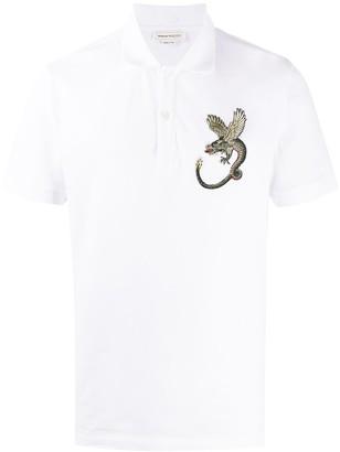 Alexander McQueen Embroidered Dragon Polo Shirt