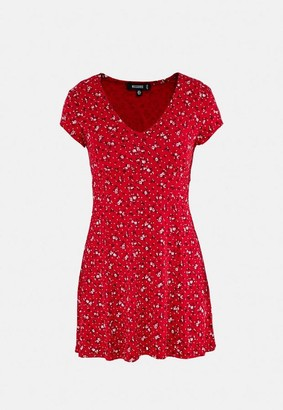 Missguided Red Ditsy Floral Print Skater Dress