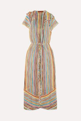Missoni Striped Metallic Crochet-knit Robe - Yellow