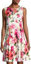 Chetta B Notch-Neck Sleeveless Floral-Print Dress, Multi
