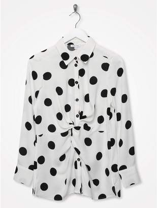 M&Co Sonder Studio knot front spot print shirt