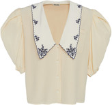 Miu Miu Collared V-Neck Silk Top