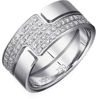 Dinh Van Seventies 18K White Gold & Diamond Pave Medium Ring