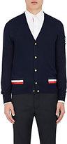 Moncler Gamme Bleu Men's Taped Fine-Gauge Knit Cotton Cardigan