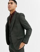 Rudie heritage check skinny fit suit jacket-Green
