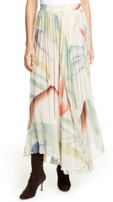 Etro Watercolor Leaf Print Pleated Maxi Skirt
