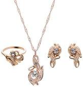Hooao Rhinestone Diamond Necklace Earrings Rings 3 in 1 Jewellery Set for Women Girl
