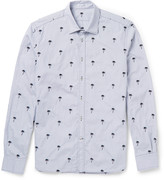 Tomas Maier - Slim-fit Palm-embroidered Checked Stretch-cotton Shirt
