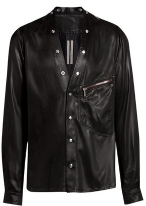 Rick Owens Larry Faux-Leather Studded Shirt