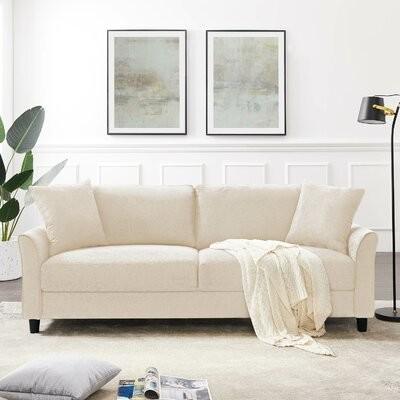 "Thumbnail for your product : Winston Porter Jamelia 83.46"" Flared Arm Sofa Fabric: Light Gray"