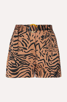 De La Vali Kid Belted Tiger-print Satin Shorts - Light brown