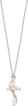 Brilliance+ Brilliance Two-Tone Heart & Cross Pendant Necklace with Swarovski Crystal