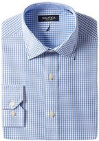 Nautica Men's Blue/White Check Spread Collar Shirt