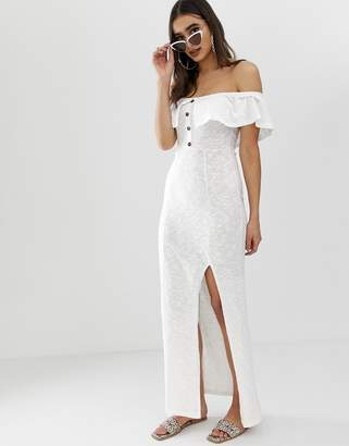 Bardot Asos Design ASOS DESIGN fit and flare slub maxi dress-White
