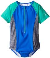 Speedo Kids Short Sleeve Zip One-Piece Swimsuit (Little Kids)