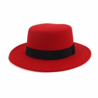 M.J.Z Hats Women Wool Red Fedoras Hat for Elegant Lady Flat Jazz Cap Wide Brim Simple Church Hat Jazz Hat Size 56-58CM M.J.ZUR (Color : Red Size : 56-58)