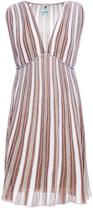 M Missoni Metallic Striped Crochet-knit Mini Dress