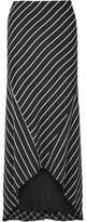 Haider Ackermann Asymmetric Striped Satin Skirt - Black