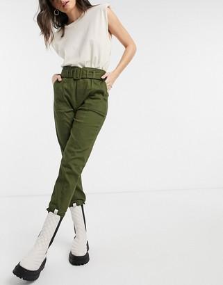 Moon River belted pants in olive green