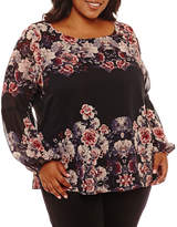 Boutique + + Long Balloon Sleeve Floral Woven Blouse Plus