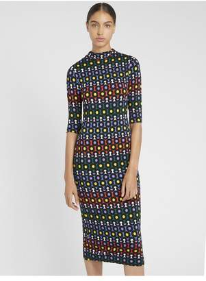 Alice + Olivia Delora Fitted Polka Dot Dress