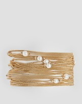 Asos Fine Chain and Faux Pearl Multirow Bracelet