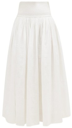 Anaak - Orai Smocked Cotton-blend Maxi Skirt - White