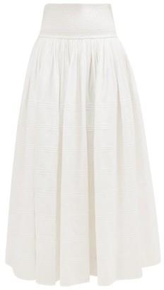 Anaak - Orai Smocked Cotton-blend Maxi Skirt - Womens - White