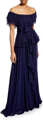Badgley Mischka Chiffon Off-the-Shoulder Short-Sleeve Ruffle Gown