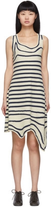Lanvin Off-White Striped Asymmetric Dress