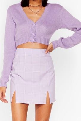 Nasty Gal Womens Check Me Out Slit Mini Skirt - Lilac