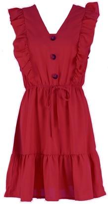 Goodnight Macaroon 'Laura' Ruffled Buttoned Peplum Dress (4 Colors)