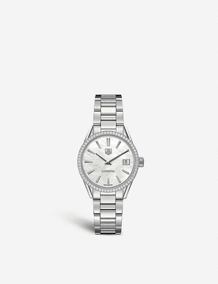 Tag Heuer WAR1315.BA0773 Carrera 64-diamond, mother-of-pearl and brushed stainless steel watch