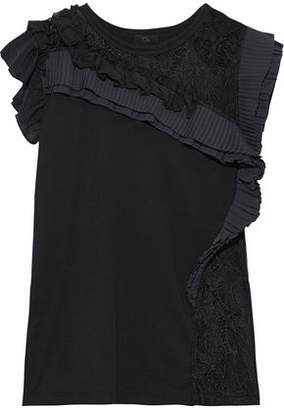 Clu Lace-paneled Pleated Ruffled Cotton-jersey Top
