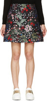 Valentino Black Embroidered Floral Print Skirt