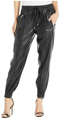 Blank NYC Faux Leather Drawstring Jogger w/ Zipper Pockets in Running Wild