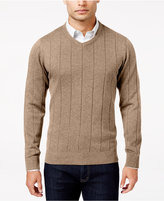 John Ashford Men's V-Neck Striped-Texture Sweater, Only At Macy's