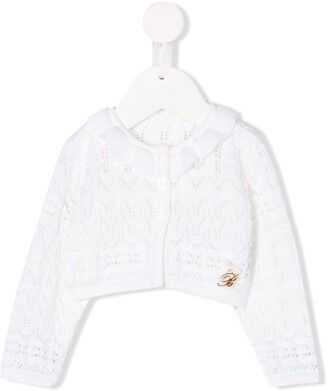 Miss Blumarine logo embroidered cardigan