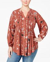 Melissa McCarthy Plus Size Bird-Print Pintucked Blouse