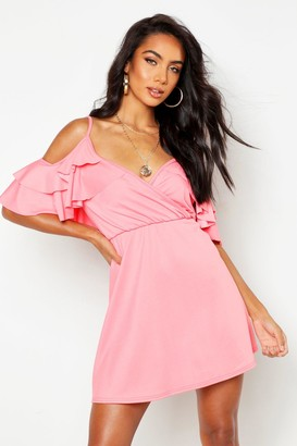 boohoo Ruffle Cold Shoulder Skater Dress