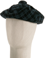 teal amish check pleated beret