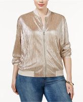 INC International Concepts Plus Size Metallic Bomber Jacket, Only at Macy's