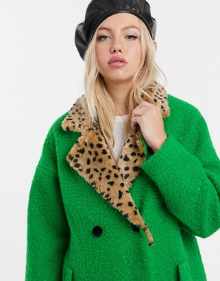 Lazy Oaf double breasted wool coat with faux fur leopard collar-Green