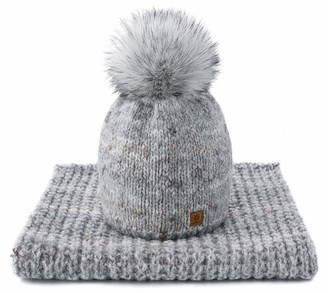 MFAZ Morefaz Ltd Set Scarf & Hat Women Wool Winter Beanie Hat Worm Knitted Neck Hats Fleece Pom Pom (Morgana Grey)