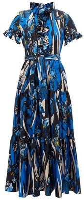 La DoubleJ Long And Sassy Ruffled Floral-print Dress - Blue Multi