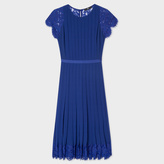Paul Smith Women's Indigo Pleated Dress With Floral Lace Panels