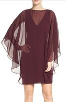 Halston Women's Ponte Sheath Dress With Chiffon Cape