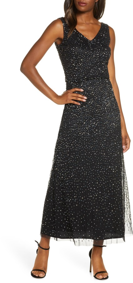 Pisarro Nights Beaded Double V-Neck Gown