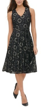 Tommy Hilfiger Floral-Lace Fit & Flare Dress